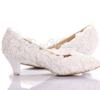 New Style White Lace Low Heel Wedding Bridal Kitten Heel Bri...