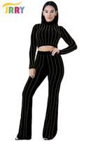 All'ingrosso-JRRY Casual due pezzi manica lunga nero donna sequin tuta dolcevita crop top pantaloni lunghi pagliaccetto da donna