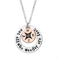 nicht alle, die wandern, sind verlorene Kompass-hängende Halskette, die Ermutigungs-Halskette hohles rundes Art und Weiseschmucksachen anspornt