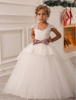 Spallina in pizzo Sash Ball Gown Net Baby Girl Birthday Party Abiti da principessa di Natale Bambini Ragazza Abiti da festa Flower Girl Dresses