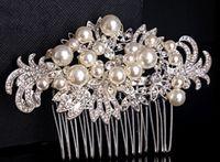 2015 recién llegado de lujo Heavy Crystal Hair Combs perlas accesorios para el cabello boda nupcial Tiaras cabeza joya TS00093