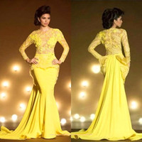 2015 arabic muslim afltan evening dresses bright yellow jewel neck long sleeves mermaid party evening dresses long prom gowns BO8693