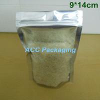 """Оптовая продажа 3.5""""x5. 5"""" (9x14cm) майлар стоит вверх алюминиевая фольга ясный пакет пакет мешок для хранения еды кофе молния замок упаковка мешок"""