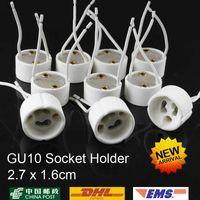 20PCS / LOT GU10 LAMP HOLDER Socket Basadapter Trådkontakt Keramikuttag för LED halogenljus vita färger