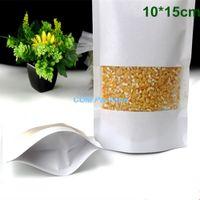 DHL 300pcs / Lot 10x15cm Stand Up blanc Kraft papier alimentaire sac de rangement Emballage Fermeture éclair Joint Doypack Emballage Pochette avec fenêtre transparente