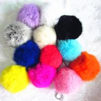 12 Farben Neue 8 cm Große Geniune Kaninchenfell Qualität Weichen Fellbälle Silber Schlüsselanhänger Tag KeyChain Keyfob mode-accessoires