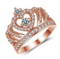 멋진 결혼 반지 클래식 디자인 크라운 백금 도금 또는 로즈 골드 도금 시뮬레이션 다이아몬드 반지 여성을위한