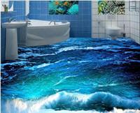 Foto personalizada papel tapiz 3D estereoscópico 3D olas oceánicas piso 3d mural PVC papel autoadhesivo piso wallpaer 20157015