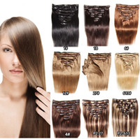 """Cheveux humains brésiliens 16-24 """"Clip dans les extensions de cheveux humains # 1 1B # 2 # 4 # 6 # 27 # 613 # 100g / set Extensions de cheveux humains"""