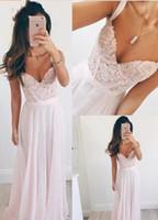 Spagetti Tatlım Balo Kıyafeti Plaj Gelin Elbiseleri Kat Uzunluk Fermuar Geri Gelinlik Elbise Narin Tozlu Pembe Dantel Şifon Akşam Dres
