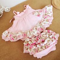 Младенческой девочки 2 шт. наборы цветочные оборками топы + шорты шаровары детская девочка горошек наряды Детская одежда розовый красный 1271