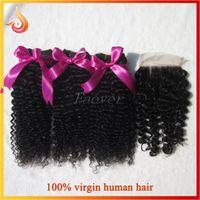 처리되지 않은 브라질 처녀 머리 아프로 곱슬 곱슬 깊은 물결 인간의 머리카락 직조 일치하는 레이스 상단 폐쇄 자연 색상 무료 배송