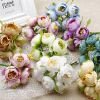 Diy 웨딩 볼 장식 화환 인공 꽃을위한 6pcs / lot 4.5cm 인공 실크 카멜리아 차 장미 꽃다발 무료 배송