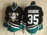 Jersey de Hóquei no Gelo CCM dos homens Cheap Patos Poderosos # 35 Jean-Sebastien Giguere Jersey Vintage Retro Logotipo China Anaheim Ducks Camisas