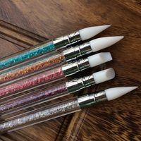 5 шт./лот Кристалл акриловые кисти гелевая ручка набор стразами ногтей Алмазный маникюр двойной путь красоты кремния наконечником инструменты
