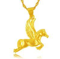 Gelb vergoldete Pferd Anhänger Halskette für Frauen, neue Pendel Welle Ketten des Designers 2016 Hochzeit Schmuck
