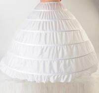 2015 Hot Ball Gown Petticoats Vit Crinoline Bröllopsklänning Underskirt Bridal Petticoats Slip 6 Hoops Kjol för Quinceanera Klänning