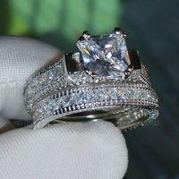 럭셔리 사이즈 5-10 레트로 프린세스 컷 14k 화이트 골드 가득 토파즈 시뮬레이션 다이아몬드 결혼 반지 세트 어머니의 날 선물 상자