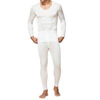الرجال طويل جونز 100٪ الحرير الخالص جيرسي حك الرجال V الرقبة الملابس الداخلية الحرارية للرجال خريف شتاء أعلى وأسفل تعيين الحجم L XL XXL