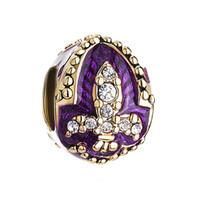 Fábrica de Metal Jóias Esmalte De Cristal pavimentada Fleur De Lis Charme Faberge Egg Rushion Ovo Beads Serve para Pulseiras
