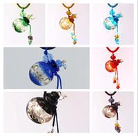 뜨거운 판매 믹스 컬러 라운드 유리 향수 펜던트 미니 에센셜 오일 병 귀여운 목걸이 쥬얼리 5pcs / lot