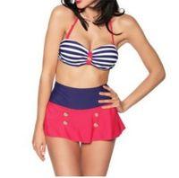 Mujeres del verano Retro Pinup Rockabilly Vintage raya cintura alta Bikini traje de baño trajes de baño empuja hacia arriba traje de baño S-XL envío gratis