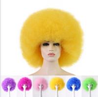Большой взрывчатый парик пушистый футбол футбол вентилятор парики Радуга клоун костюм парик волос Рождество Красочные парики кепка