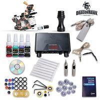 Komplette Tattoo-Kit Maschinengewehre Farben Tinten Set Nopers Nadeln HW-19GD