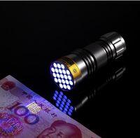HOT SALE! 100 STKS-NIEUWE UV Ultra Violet 21 LED Zaklamp Mini Blacklight Aluminium Torch Light Lamp Freeshipping