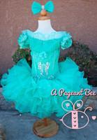 Imagem Real 2021 Meninas Pageant Vestidos Sheer High Neck Tule Azul Rhinestone Cristal Beads Glitz Ball Ball Vestido Longo Flor Meninas Vestidos