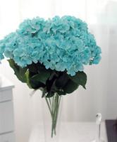 """수국 꽃 무리 50cm / 19.69 """"길이 인공 실크 꽃 시뮬레이션 아일랜드어 그림 큰 수국 부시 당 일곱 꽃 머리"""