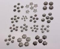 Heta! 300pcs Antik silverlegering 14-Style Flower Bead Cap Smycken Tillbehör (MM30)