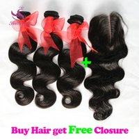 8A Brazilian Body Wave Virgin Hair Bundles with Top Lace Clo...