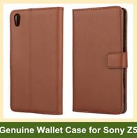 Venta al por mayor nuevo arrrive de cuero genuino flip case cubierta del teléfono de la caja para Sony Xperia Z5 E6603 E6653 envío de la gota