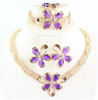Joyería africana 18k dubai chapado en oro púrpura flor de rubíes collar de boda pulsera pendiente anillo anillo de joyería bridales conjuntos