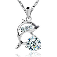 925 silver items crystal 3D dolphin diamond shaped pendant necklaces wedding jewelry vintage charms new arrival