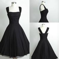 SimpleBlack 짧은 쉬폰 송아지 길이 비치 들러리 드레스 댄스 파티 드레스 빈티지 파티 드레스 작은 검은 쉬폰 Ruched 60 $ 미만