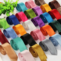 New Mens And Womens Tie Skinny Solid Color Plain Satin Tie N...