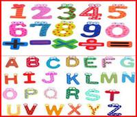 2460PCS / lote Fedex Ship New 26 caracteres en inglés + 15 números (41pcs / lot) Funky Fun Colorful Números magnéticos Letras Imanes de nevera de madera