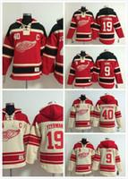 2016 neue, detroit rote Flügel # 9 Gordie Howe # 19 Steve Yzerman Hoodie Roter Premier genäht Mens Eishockey Jersey Hoodies Sweatshirt 234