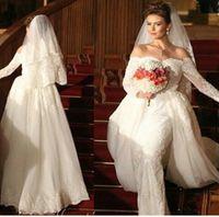 Платье-футляр Vestido De Noiva Свадебные платья 2015 Милая декольте кружева тюль с длинными рукавами с придворным шлейфом