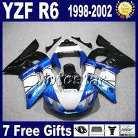 Jeu de carénages expédition gratuit pour YAMAHA YZF-R6 1998-2002 YZF 600 YZFR6 98 99 00 01 02 noir bleu blanc kits carrosseries VB76