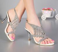 Open teen 3 inches zomer sexy hoge hak sandalen zilveren strass trouwjurk schoenen vrouwen mode slingbacks bruids schoenen