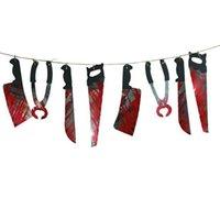 Halloween Simulation Blut Messer String Spoof Horror Anhänger Party Bar Spukhaus r Bunting für Terror Deko Halloween Haunted House Wine