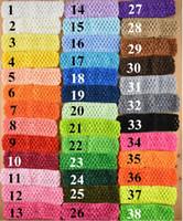 熱い販売38彩色卸売過酷な高品質1.5inch新生児の赤ちゃん女の子トップTutuかわいいかぎ針編みヘッドバンドヘアボウ、100ピース