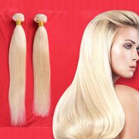 Paquetes brasileña del cabello humano calidad de Hight extensión del pelo humano # 613 Bleach brasileña recta rubia trama del pelo humano