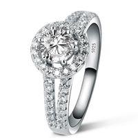 1 CT simular anel de diamante para as mulheres de Luxo 925 anel de prata esterlina, anel de noivado para as mulheres, presente nupcial para a menina