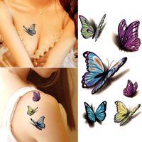 방수 헤나 토토 셀프 가짜 몸 임시 문신 스티커 다채로운 나비 3D 문신 아트 플래시