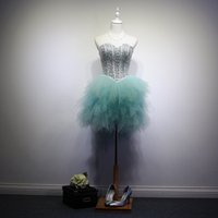 In rilievo Tulle di cristallo Prom Dress Short 2016 Ball Gown Sweetheart Prom Gown Lace Up Accetta Dropshipping