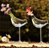 立って幸せな鳥のガラス花瓶の結婚式の装飾の家の装飾のスタイリッシュなデザインの植木鉢プランター